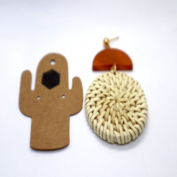 Shop Wyoming Weaved Circular Golden Accent Wooden Earrings