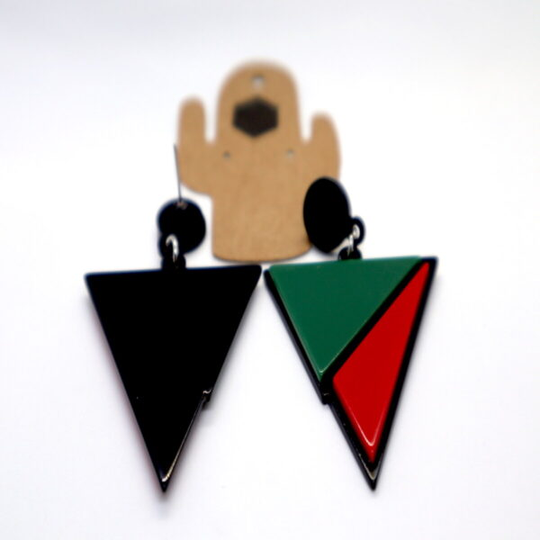 Shop Wyoming Triangular Acrylic Red- Green Dangled Earrings