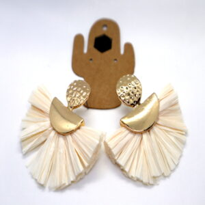 Shop Wyoming Golden Fan-shaped Paper Semi Dangled Earrings