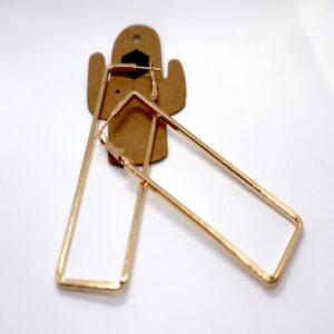 Shop Wyoming Golden Simple Rectangular Metal Dangled Earrings