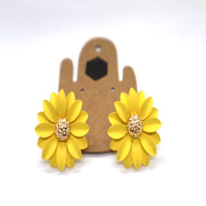 Shop Wyoming Daisy Flower W/ Golden Center Studded Earrings- Yellow