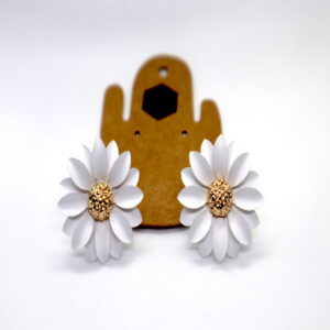 Shop Wyoming Daisy Flower W/ Golden Center Studded Earrings – White