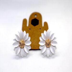 Shop Wyoming Daisy Flower W/ Golden Center Studded Earrings – White
