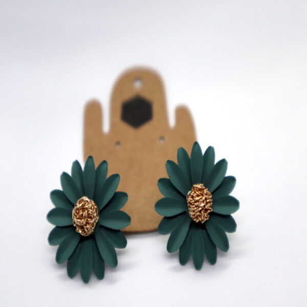 Shop Wyoming Daisy Flower W/ Golden Center Studded Earrings – Teal