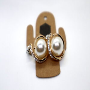 Shop Wyoming Pearl with Golden Support Outline and Diamonds Earrings
