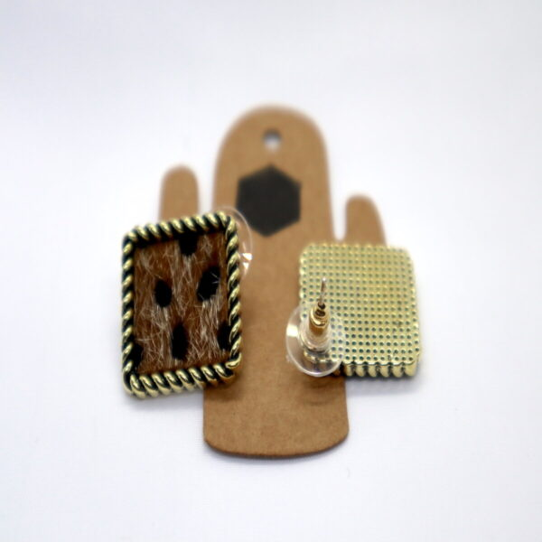 Shop Wyoming Squared Leopard Textured Fur Earrings with Golden Trimming