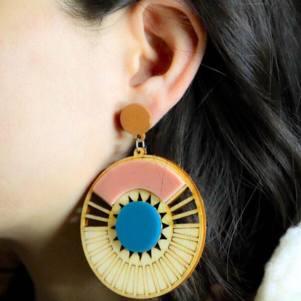 Shop Wyoming Aztec Style Wooden Dangled Earrings