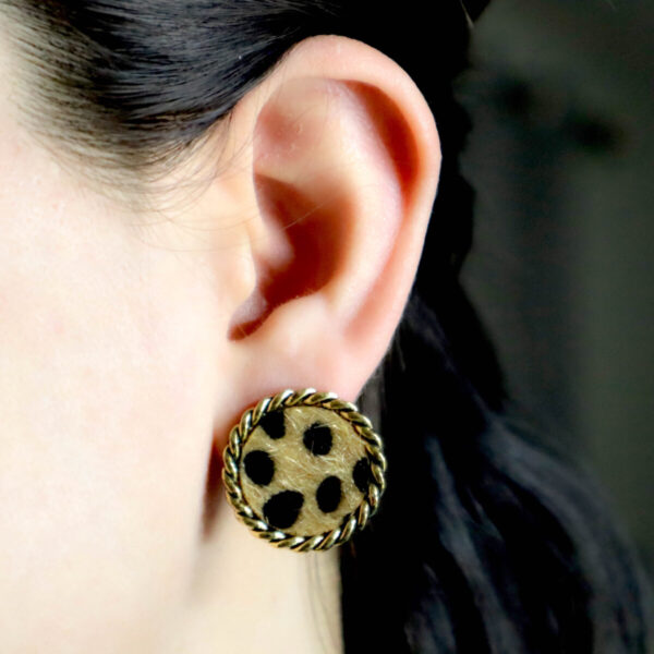 Shop Wyoming Rounded Leopard Textured Fur Earrings with Golden Trimming