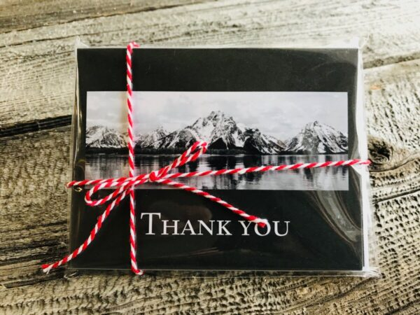 Shop Wyoming Thank You card pack featuring Mt. Moran in the Tetons, Jackson, WY