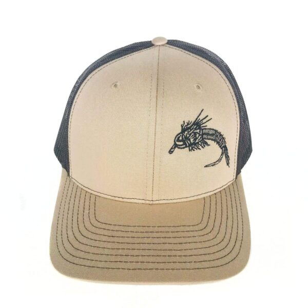 """Shop Wyoming Nymph Design Trucker – Tan/Brown – """"So Fly"""" Series 2"""