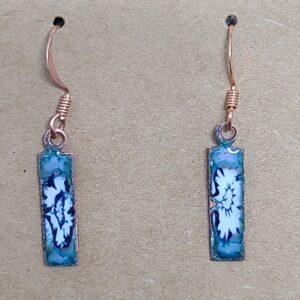 Shop Wyoming Dark Blue Star Burst on Turquoise Copper Bar Earrings