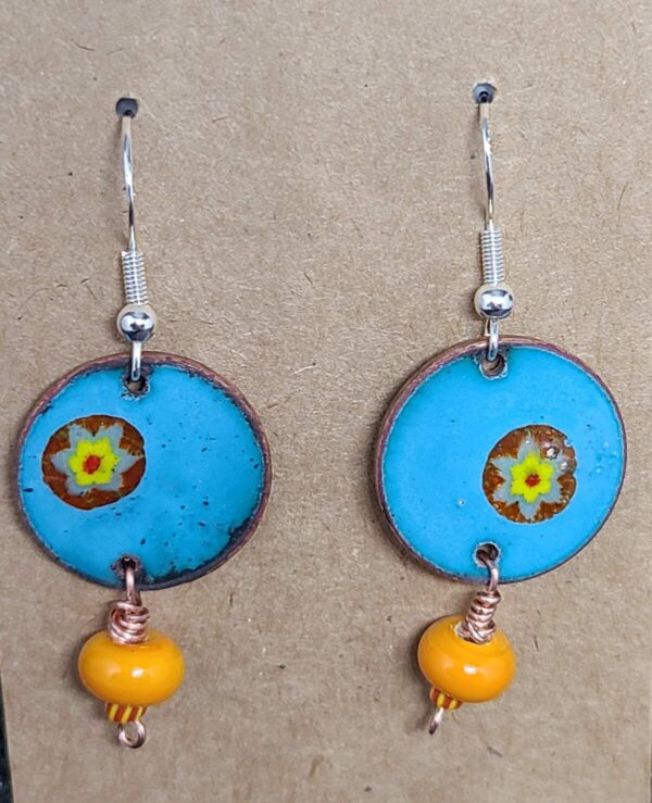 Shop Wyoming Orange Flower on Turquoise Enamel Penny Earrings