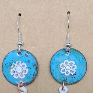 Shop Wyoming White Flower on Turquoise Enameled Penny Earrings
