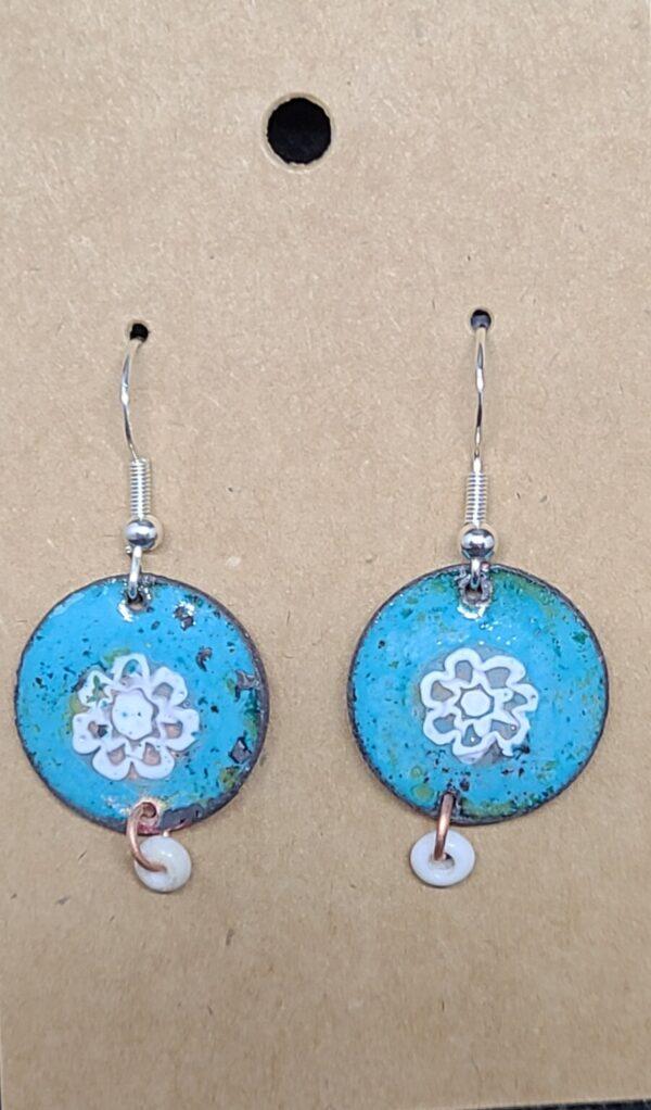Shop Wyoming White Flower on Turquoise Enameled Penny Earrings