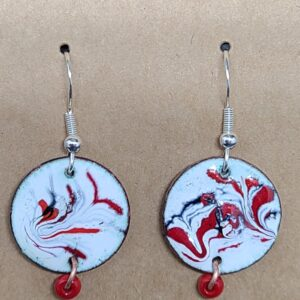 Shop Wyoming Black and Red Swirls Enameled Earrings