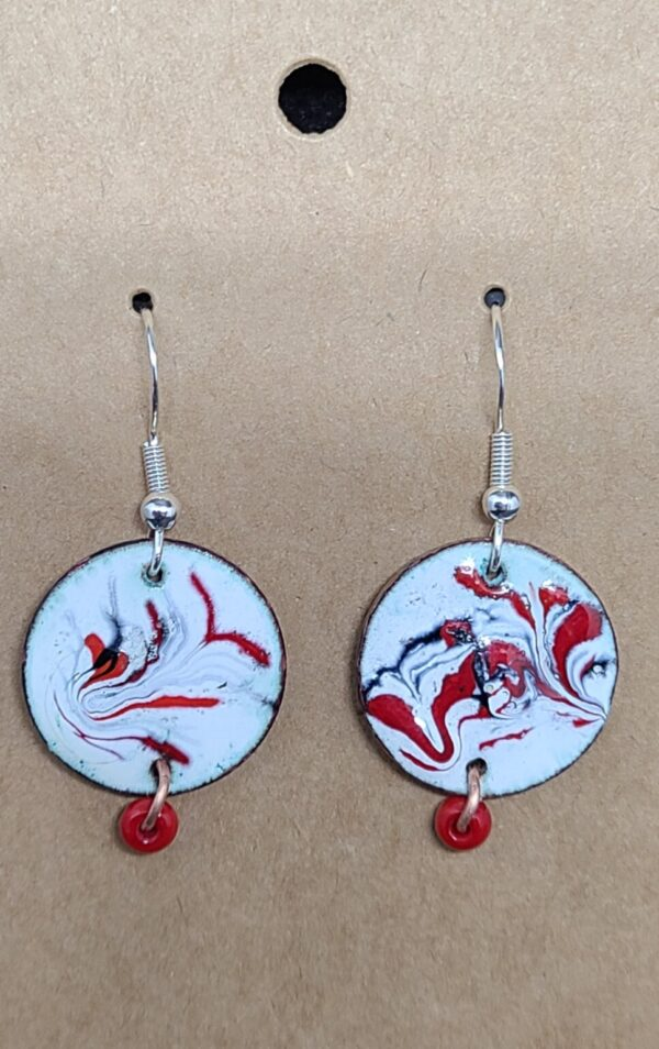 Shop Wyoming Black and Red Swirls Enameled Earrings