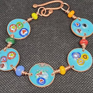 Shop Wyoming Colorful Flowers Enameled Turquoise Pennies Bracelet