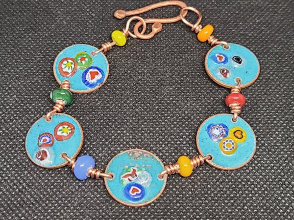 Shop Wyoming Colorful Flowers Enameled Turquoise Pennies Bracelet