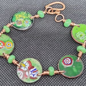 Shop Wyoming Green Floral Enameled Wheat Penny Bracelet