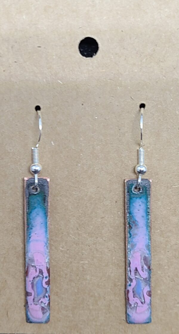 Shop Wyoming Pink on Turquoise Enameled Copper Bar Earrings