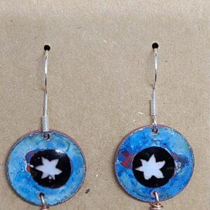 Shop Wyoming White Stars on Blue Enameled Penny Earrings