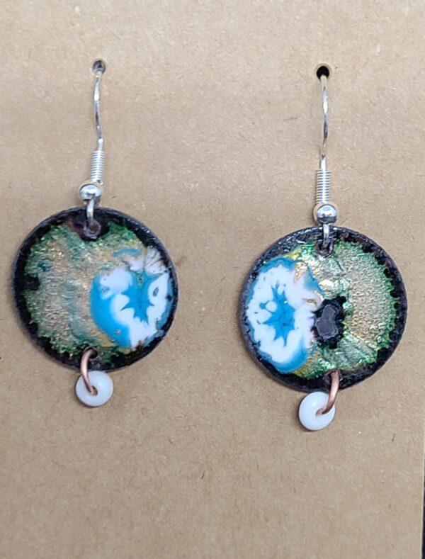Shop Wyoming Turquoise Flower Burst on Clear Enamel Penny Earrings