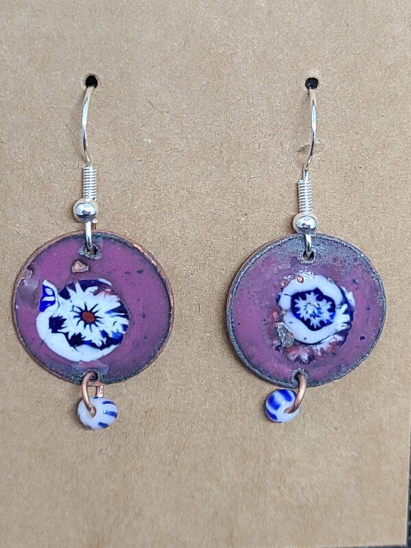 Shop Wyoming Blue Flower Star Burst on Purple Enameled Penny Earrings