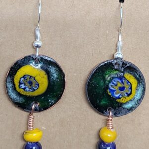 Shop Wyoming Blue Sunburst on Yellow Enameled Penny Earrings