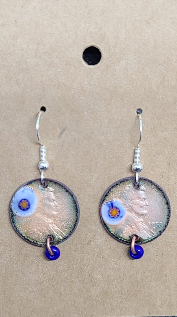 Shop Wyoming Clear Enameled Penny Earrings with Blue Flower