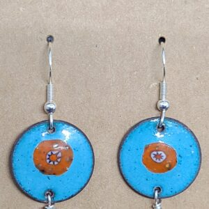 Shop Wyoming Orange Flowers on Turquoise Earrings
