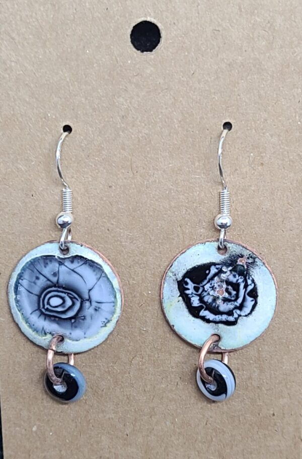 Shop Wyoming Black and White Spiral Enameled Penny Earrings