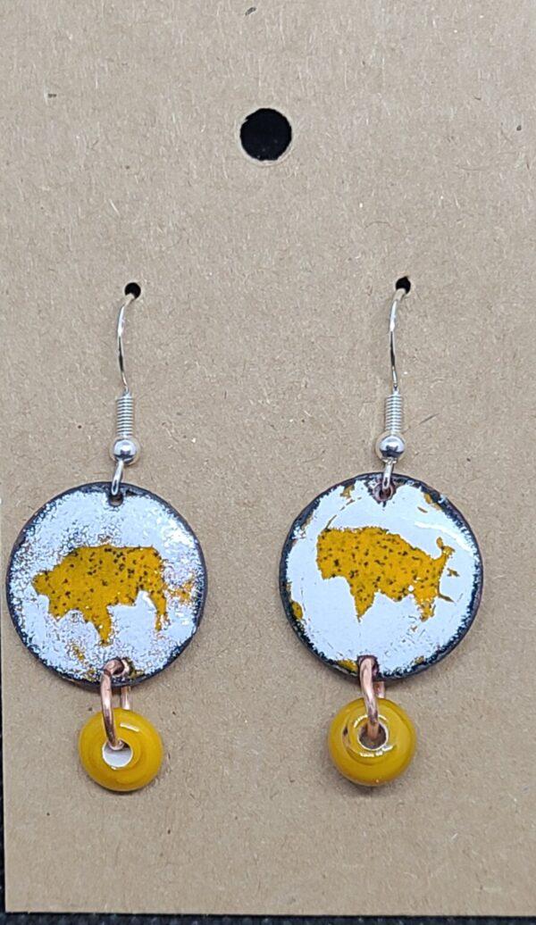 Shop Wyoming Bison Enameled Penny Earrings – Various Color Designs