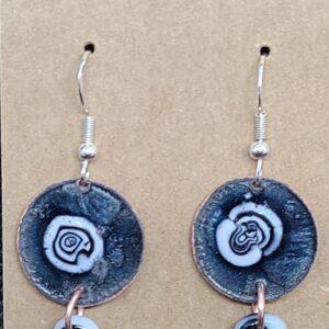Shop Wyoming Black and White Earrings on Black Enameled Pennies