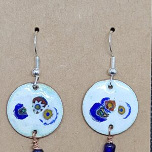 Shop Wyoming Three Blue Flowers on White Enameled Penny Earrings