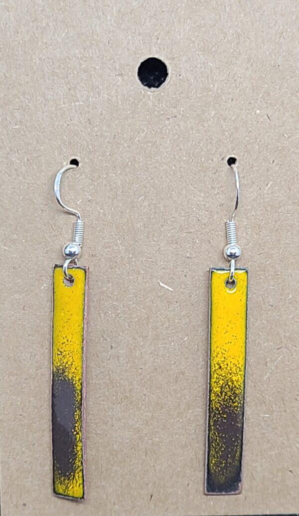 Shop Wyoming Brown & Gold Enameled Copper Strip Earrings