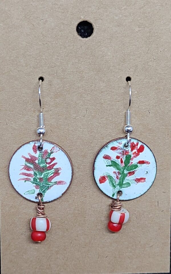 Shop Wyoming Hand painted Indian Paintbrush Enameled Earrings