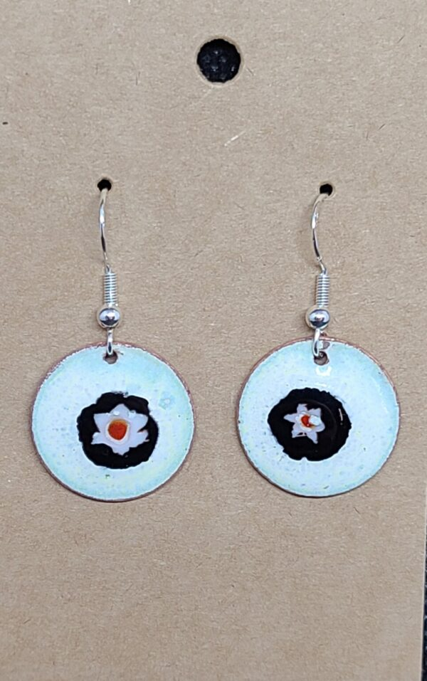 Shop Wyoming White flower on White Enameled Penny Earrings