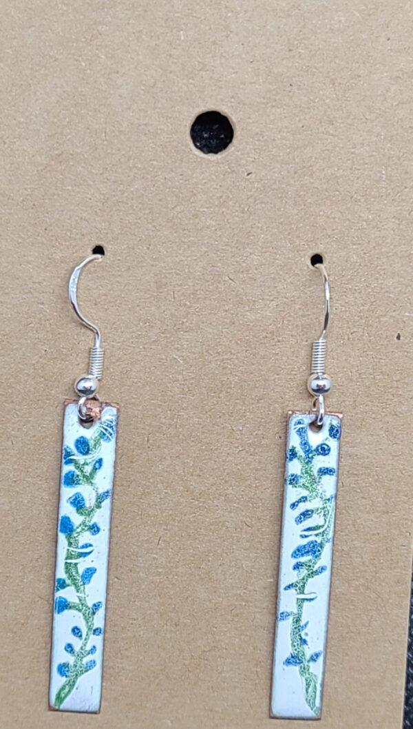 Shop Wyoming Little Blue Flowers Copper Bar Earrings