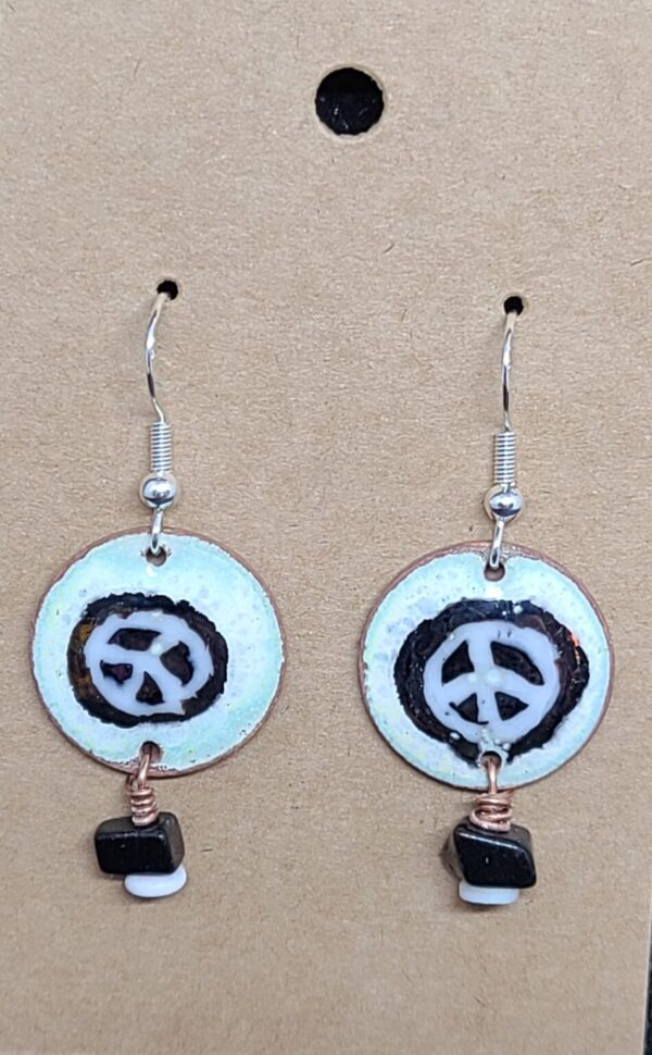 Shop Wyoming Black Peace Signs on White Enameled Penny Earrings