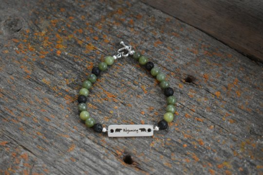 Shop Wyoming Wyoming Jade Bracelet , 6mm with Stainless steel connector