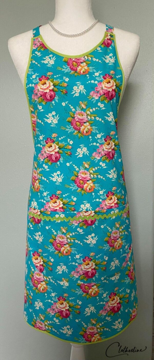 Shop Wyoming Roses on bright blue everyday apron