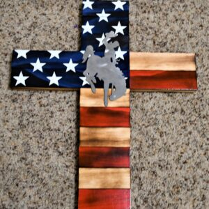 Shop Wyoming Wyoming Bucking Horse on American Flag Wooden Cross