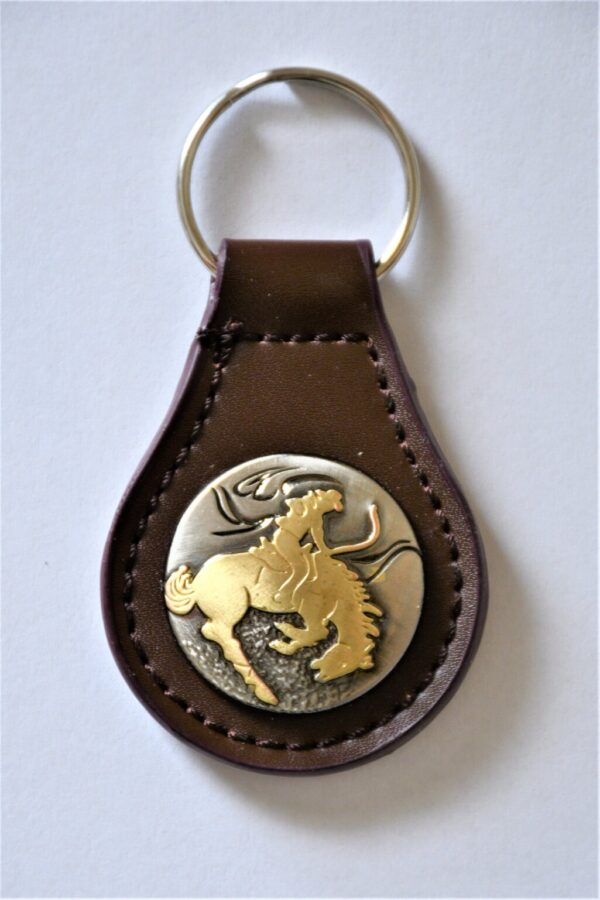 Shop Wyoming Western Leather Key Fob with Bucking Horse
