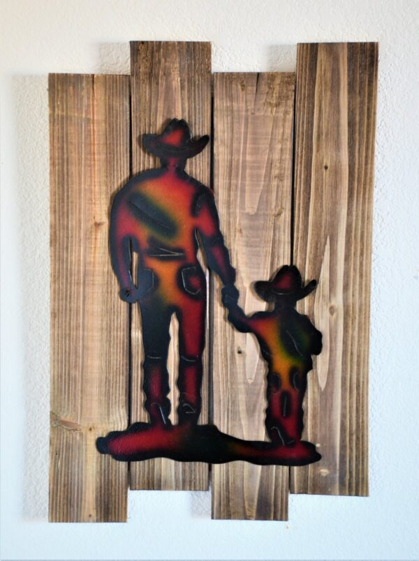 Shop Wyoming Cowboy and Child Metal Silhouette Mounted on Wood