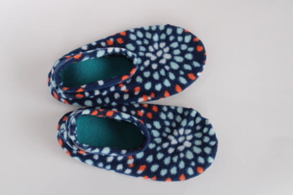 Shop Wyoming Blue & Orange Flower Slipper Socks/House Shoes
