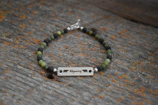 Shop Wyoming Wyoming Jade bracelet, 4mm Stainless Steel Wyoming Connector