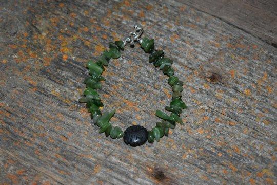 Shop Wyoming Wyoming Jade Bracelet, Wyoming Jade Chip and Lava bead bracelet