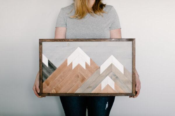 Shop Wyoming Wooden Mountain Scene Wall Art 24X14
