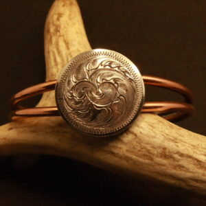 Shop Wyoming Copper Coil Bracelet with Engraved Coin Concho