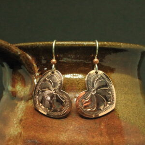 Shop Wyoming Copper engraved heart shaped earrings